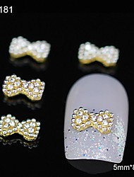 10pcs Rhinestone Group Glitter Bowtie Gold  DIY Alloy Accessories Nail Art Decoration