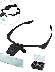 9892B Eyewear Headband Style 1.0X / 1.5X / 2.0X / 2.5X / 3.5X Magnifier 2-LED Light - Black