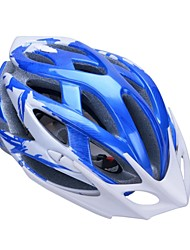 moda unisex y de alta transpirabilidad pc + epp casco de bicicleta con visera desmontable (24 tiros) - azul oscuro + plata