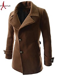 MANWAN WALK®Men's Casual Slim Oblique Single Breasted Coat.Removable Two Piece Warm Solid Trench.