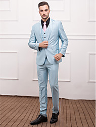 Light Blue Polyester Slim Fit Three-Piece Suit