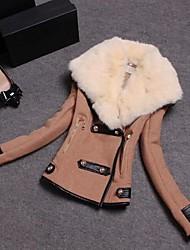 Women's Black/Yellow Coat , Casual Long Sleeve Wool/Cotton
