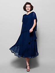 Lanting Bride® A-line Plus Size / Petite Mother of the Bride Dress Tea-length Short Sleeve Chiffon with Appliques / Beading