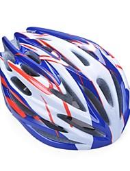moda unisex y de alta transpirabilidad pc + epp casco de bicicleta (32vents) - azul + rojo + plata