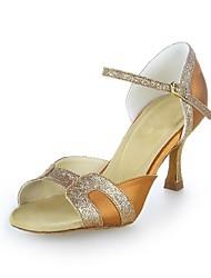 Non Customizable Women's Dance Shoes Latin Satin/Sparkling Glitter Flared Heel Brown