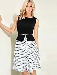 Monta Women's Chiffon Temperament Dots Sleeveless Dress