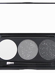 3 Color Black Shimmer Glitter Powder Professional Eye Shadow Makeup Cosmetic Palette with Mirror&Applicator Set 2#