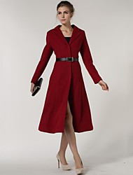 Women's Red Trench Coat , Casual/Work Long Sleeve Wool Blends