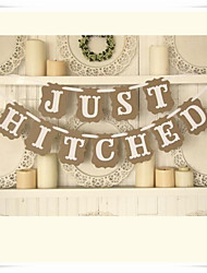 "Rustic Vintage ""JUST HITCHED"" Wedding Banner Photo Booth Props"