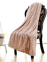 Simple&Opulence® PV Fleece Rose Blanket Pink W130×150cm(W50×60in)