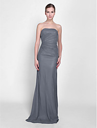 Floor-length Chiffon Bridesmaid Dress - Lace-up Sheath / Column Strapless Petite with Side Draping