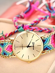 Мулан женская золотая случае цепь полоса ткани кварц часы (разных цветов)