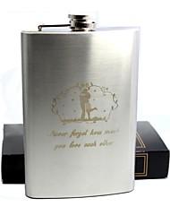 presente personalizado 8 oz garrafa de bolso de aço inoxidável - abraço