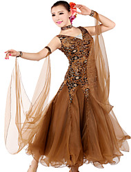 Ballroom Dancewear Women's Tulle Spandex Ballroom Modern Dance Dress Including Dress And Collar Gaiter (More Colors)