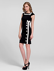 Homecoming Cocktail Party Dress - Black Sheath/Column Jewel Knee-length Cotton