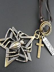 Fashion Retro Punk Big Spider Multicolor Leather Alloy Pendant Necklace(1 Pc)(Bronze,Silver)