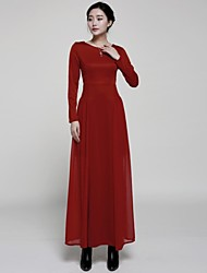 Women's Solid Red Dress , Casual/Party/Maxi Round Neck Long Sleeve