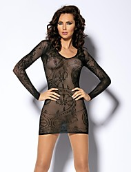 Women's Black Long Sleeved Scoop Neck Lace Mini Dress