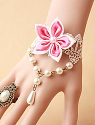 Fleurs de mariage Rond Petit bouquet de fleurs au poignet Mariage Dentelle / Perle