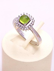 AS 925 Silver Jewelry  Olive green exquisite small square ring