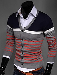 Men's Korean Slim V-Neck Striped Knit Cardigan