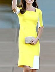 vestido de color media manga contraste moda casual de milliya mujeres
