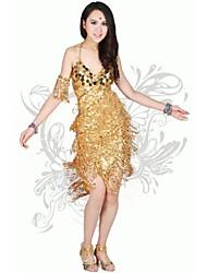 Latin Dance Women's Fashion V Collar Tassel Performance Dress