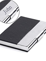 Personalized Black Leather and Stainless Steel Card Case