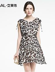 print abito estivo sottile sexy scollo a V senza maniche leopardo chiffon vestito di un pezzo di eral®women