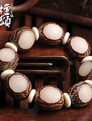 tanson®Tibetan barrel three face of yin and Yang white jade Buddha hand string of Prayer Beads Bracelet hand polished