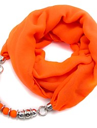 Rainso® Women's Long Voile Charm Scarf Neckalce  with CCB Acrylic Beads