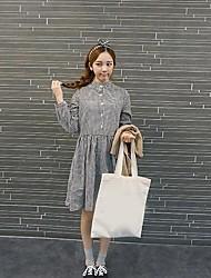 Banca de moda colar malha vestido de manga longa das mulheres