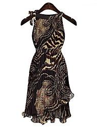 Leoparden unregelmäßigen Wellen schwingen ärmelloses Kleid der Frauen