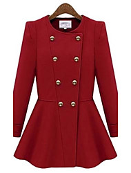 Maifeng Women's New European Linen Double-breasted Coat