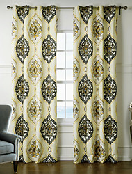 Neoclassical Designer Two Panels Floral Botanical Multi-color Bedroom Polyester Curtains Drapes