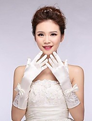 Elastic Satin Elbow Fingerless Wedding Gloves with Bowknot  ASG6