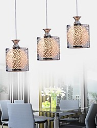 Putian@ Flush Mount ,3 Lights Modern in Silver Wrought Iron Glass Feature with Height Adjustable