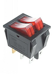 6-Pin Rocker Switch Rocker Switches with Red Light Indicator (2PCS)