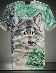 Men's V neck Fashion Casual 3D Animal Print Short Sleeved T-shirt