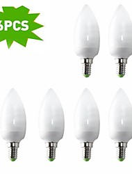 6-pack h + lux ™ cfl EIC c37 e14 9W 400lm cri>80 cálido de 2700 k bombilla vela blanca (AC220-240V) = 40w incandescente