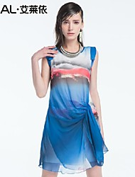 abito estivo sottile stampa romantica sleeveless elegante o-collo di un pezzo del vestito di Tulle chiffon di eral®women