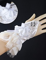 Elastic Satin Wrist Length Fingerless Wedding Gloves with Applique with Flowers with Rhinestone  ASG37