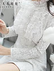Women's White Dress , Casual/Lace Long Sleeve
