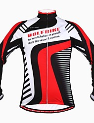 WOLFBIKE Winter Fleece Thermal Windproof Cycling Long Sleeve Cycling Jersey- Black+Red