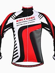 wolfbike invierno de lana de manga larga en bicicleta a prueba de viento térmico ciclismo Jersey- negro + rojo