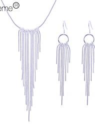 Lureme women's 925 Sterling Silver Plated Tassel Jewelry Set(Necklace & Earrings)