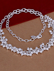 Fashion Grape Shape Pendant Silver Plated Simple Ball Chain Rolo Foreign Trade Necklace(White)(1Pc)