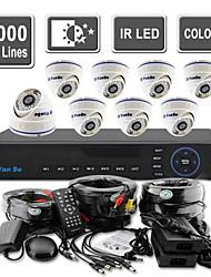 yanse® 8ch d1 cctv dvr kit ir kleuren dome camera beveiligingscamera's systeem 808cf08