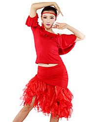 Dança Latina Roupa Mulheres Seda tecida com CetimTop Length:S:48cm,M:50cm,L:52cm,XL:54cm,XXL:56cm;Botttom