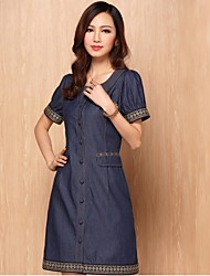 Women's Vintage A Line Dress , Round Neck Knee-length Denim